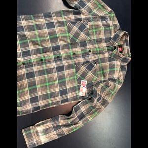 Quicksilver flannel cotton LS shirt, NWT men's SM